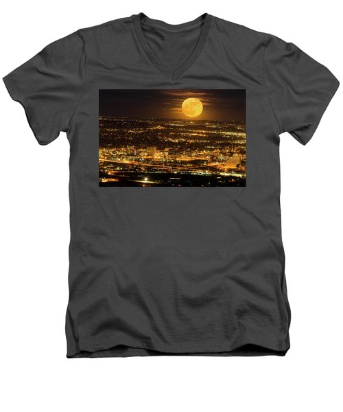 Home Sweet Hometown Bathed In The Glow Of The Super Moon  Men's V-Neck T-Shirt by Bijan Pirnia