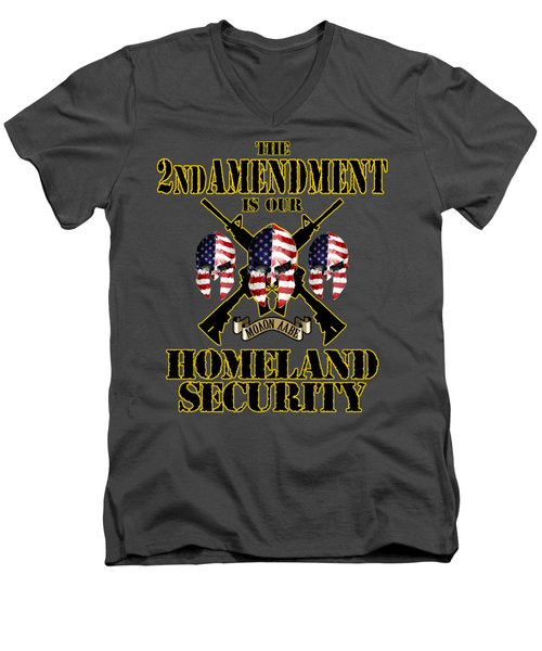 Men's V-Neck T-Shirt featuring the tapestry - textile Homeland Security by Don Olea