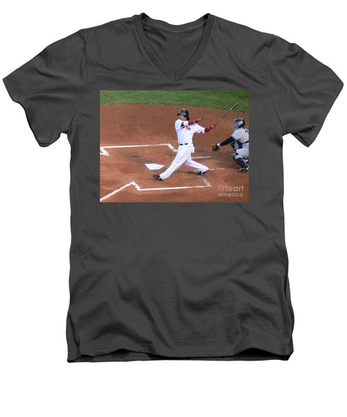 Homerun Swing Men's V-Neck T-Shirt by Kevin Fortier