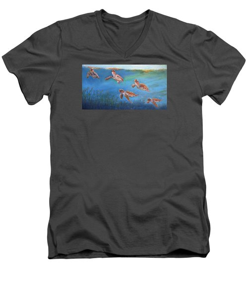 Men's V-Neck T-Shirt featuring the painting Homeward Bound by Ceci Watson