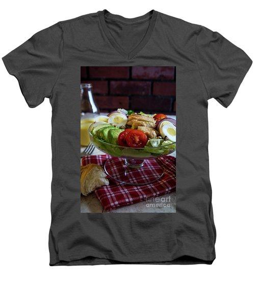 Men's V-Neck T-Shirt featuring the photograph Honey Mustard Chicken Cobb Salad 2 by Deborah Klubertanz