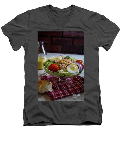 Men's V-Neck T-Shirt featuring the photograph Honey Mustard Chicken Cobb Salad 1 by Deborah Klubertanz
