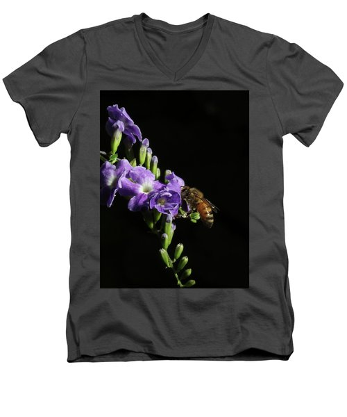 Men's V-Neck T-Shirt featuring the photograph Honeybee On Golden Dewdrop by Richard Rizzo