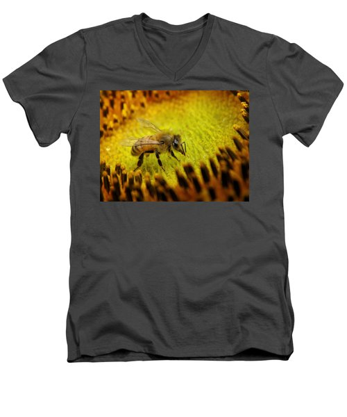 Men's V-Neck T-Shirt featuring the photograph Honeybee On Sunflower by Chris Berry