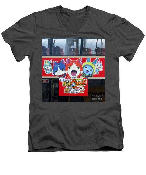 Men's V-Neck T-Shirt featuring the photograph Hong Kong Bus by Randall Weidner