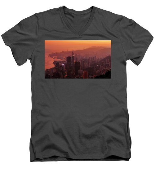 Hong Kong City View From Victoria Peak Men's V-Neck T-Shirt