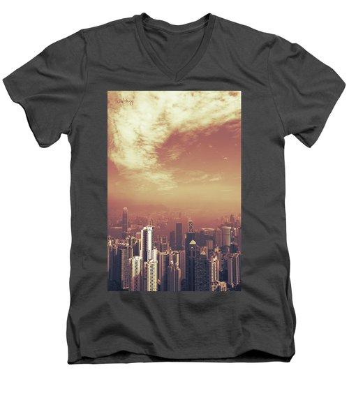 Men's V-Neck T-Shirt featuring the photograph Hong Kong Portrait by Joseph Westrupp