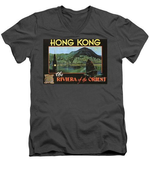 Hong Kong - Riviera Of The Orient Men's V-Neck T-Shirt by Roberto Prusso