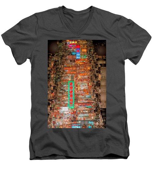 Hong Kong -yaumatei Men's V-Neck T-Shirt