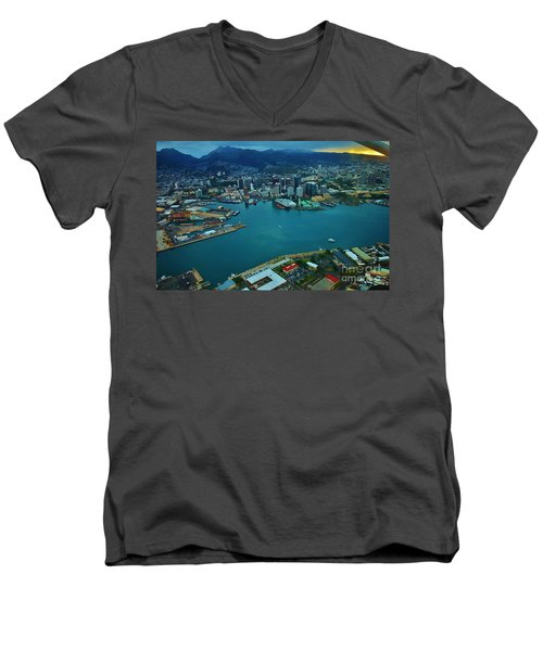 Honolulu Waterfront At Dawn Men's V-Neck T-Shirt