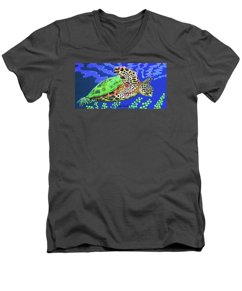 Honu Men's V-Neck T-Shirt by Debbie Chamberlin