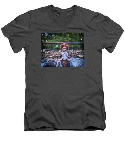 Men's V-Neck T-Shirt featuring the photograph Hood Ornament? by Alan Raasch