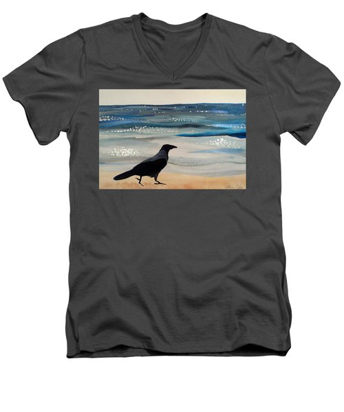Hooded Crow At The Black Sea By Dora Hathazi Mendes Men's V-Neck T-Shirt by Dora Hathazi Mendes
