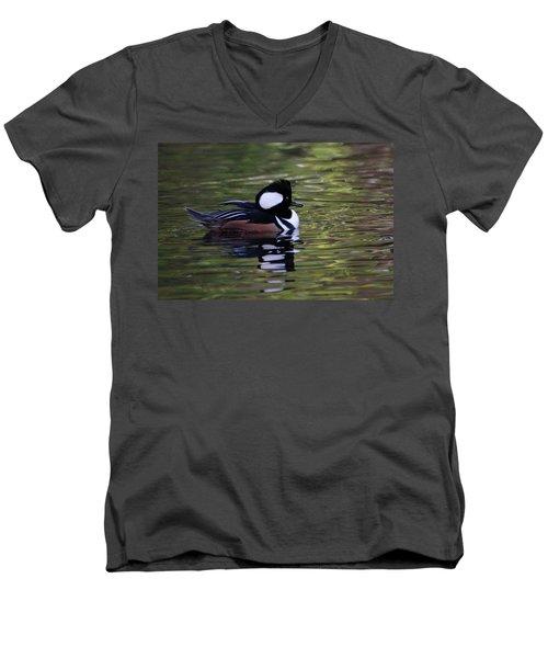 Hooded Merganser Duck Men's V-Neck T-Shirt by Keith Boone