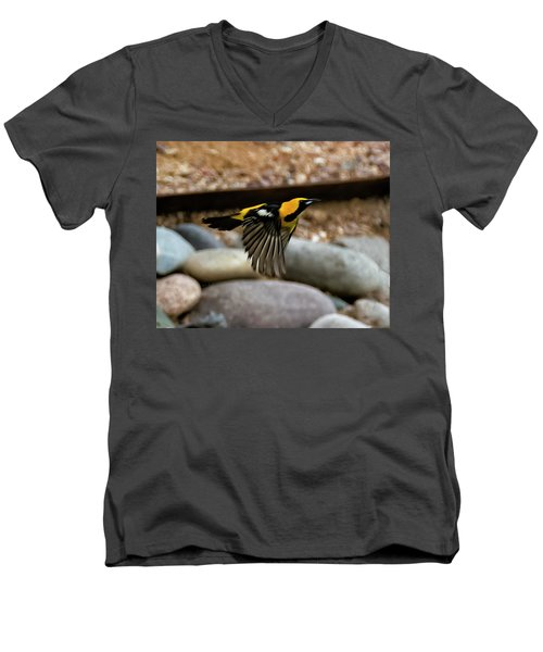 Men's V-Neck T-Shirt featuring the photograph Hooded Oriole H37 by Mark Myhaver