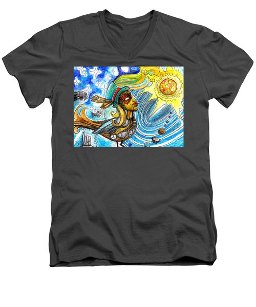 Men's V-Neck T-Shirt featuring the painting Hooked By The Worm by Genevieve Esson