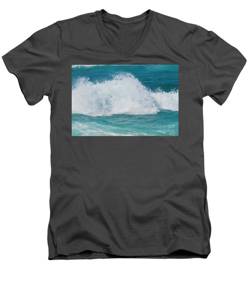 Hookipa Splash Waves Beach Break Shore Break Pacific Ocean Maui  Men's V-Neck T-Shirt by Sharon Mau