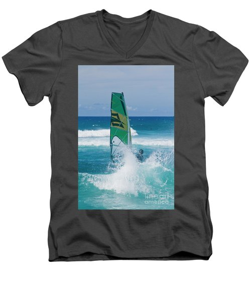 Hookipa Windsurfing North Shore Maui Hawaii Men's V-Neck T-Shirt by Sharon Mau