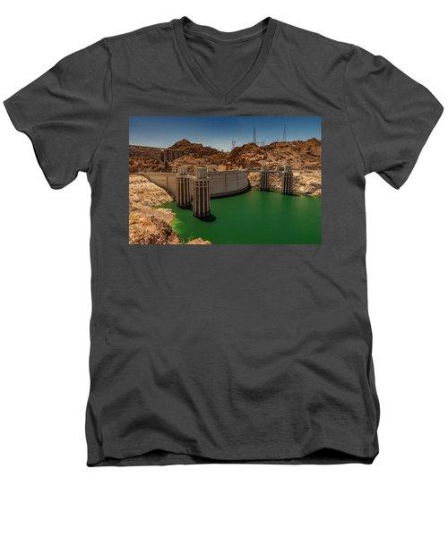Hoover Dam Men's V-Neck T-Shirt by Ed Clark