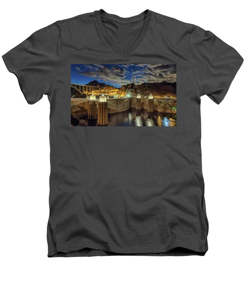 Men's V-Neck T-Shirt featuring the photograph Hoover Dam by Michael Rogers