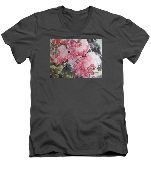 Men's V-Neck T-Shirt featuring the painting Hop08012015-695 by Dongling Sun