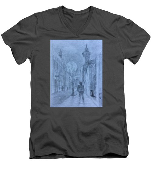 Men's V-Neck T-Shirt featuring the painting  Moon Of Hope by Laila Awad Jamaleldin
