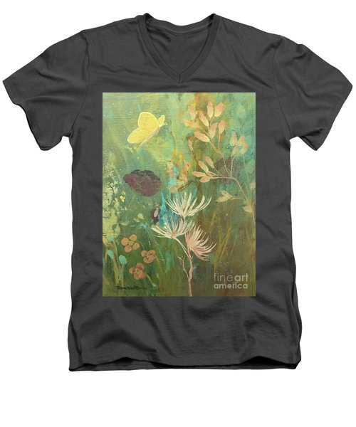 Men's V-Neck T-Shirt featuring the painting Hopeful Golden Wings by Robin Maria Pedrero