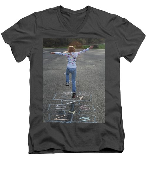 Men's V-Neck T-Shirt featuring the photograph Hopscotch Queen by Richard Bryce and Family