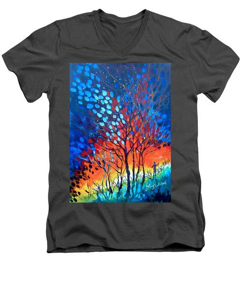 Men's V-Neck T-Shirt featuring the painting Horizons by Linda Shackelford
