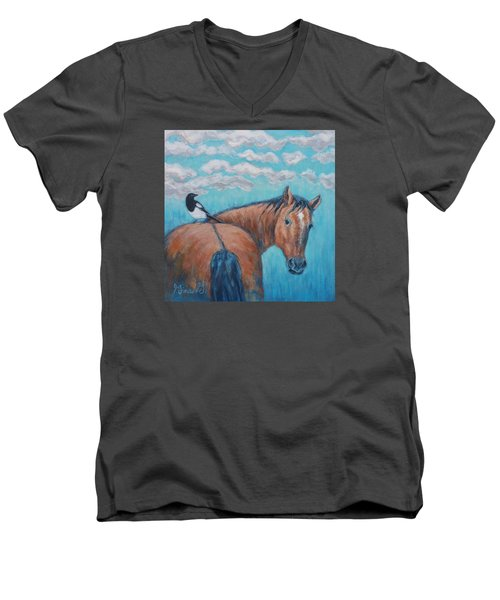 Horse And Magpie Men's V-Neck T-Shirt