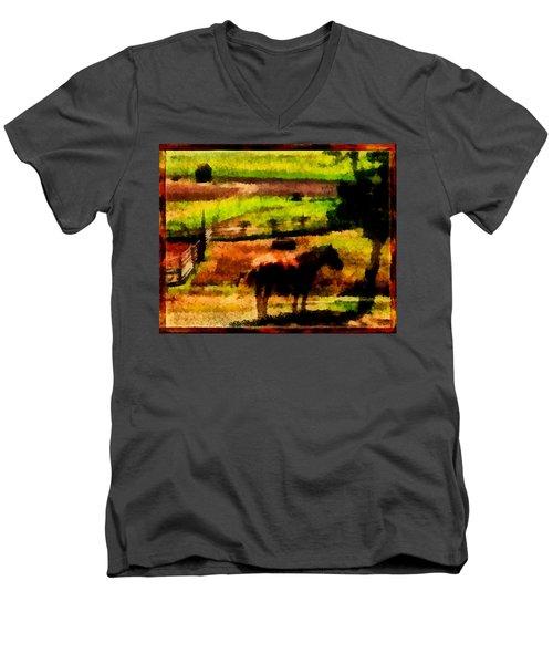 Horse At Pasture Men's V-Neck T-Shirt