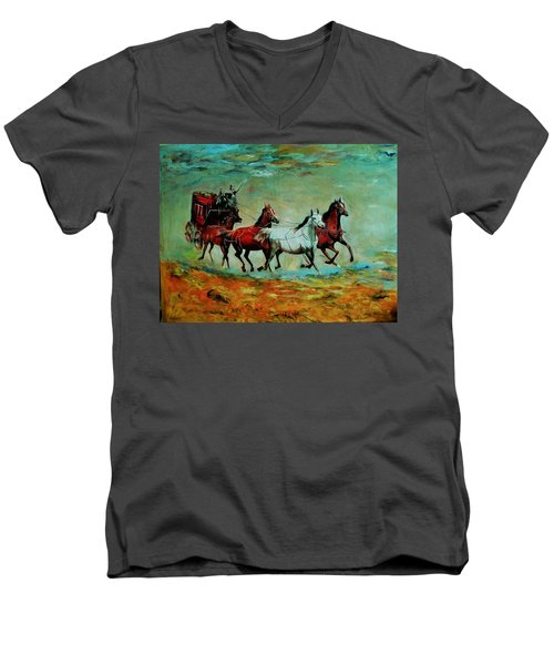 Horse Chariot Men's V-Neck T-Shirt by Khalid Saeed