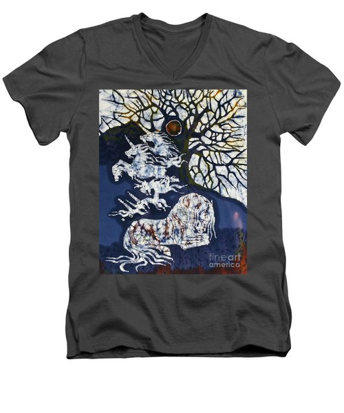 Horse Dreaming Below Trees Men's V-Neck T-Shirt