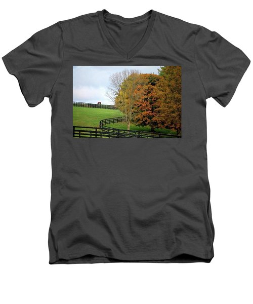 Men's V-Neck T-Shirt featuring the photograph Horse Farm Country In The Fall by Sumoflam Photography