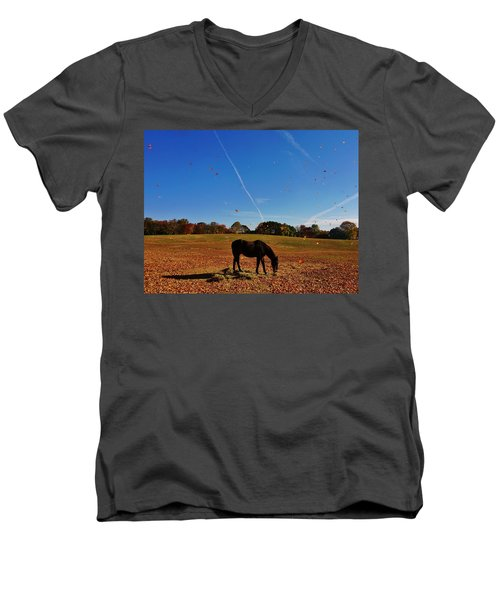 Horse Farm In The Fall Men's V-Neck T-Shirt by Ed Sweeney