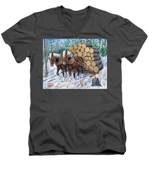 Horse Log Team Men's V-Neck T-Shirt