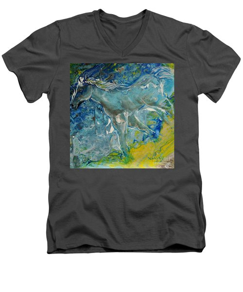 Men's V-Neck T-Shirt featuring the painting Horse Of A Different Color by Deborah Nell