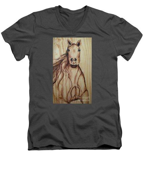 Men's V-Neck T-Shirt featuring the painting Horse On Wood by Alga Washington