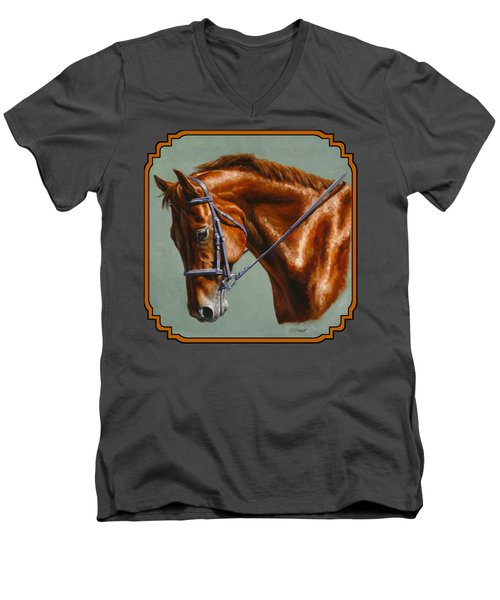 Horse Painting - Focus Men's V-Neck T-Shirt by Crista Forest