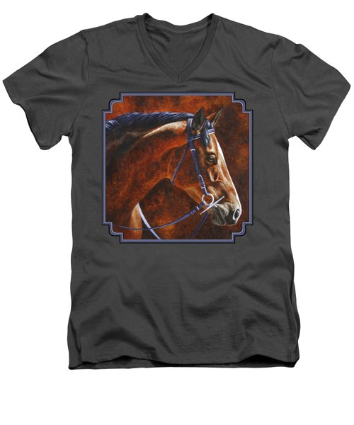 Horse Painting - Ziggy Men's V-Neck T-Shirt by Crista Forest
