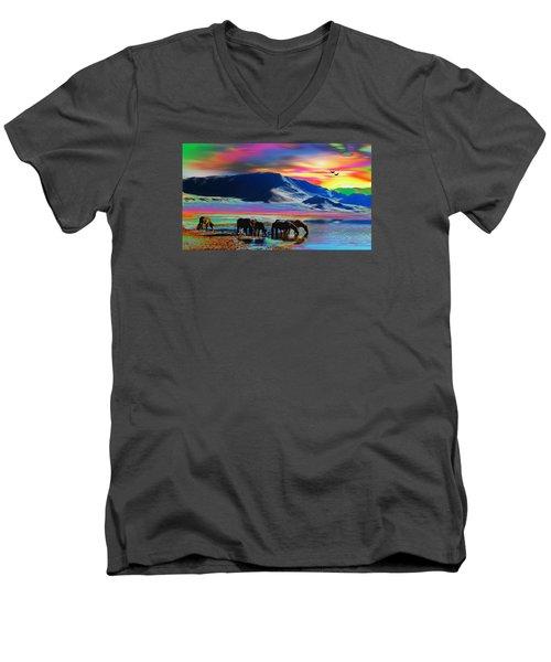 Horse Sunrise Men's V-Neck T-Shirt