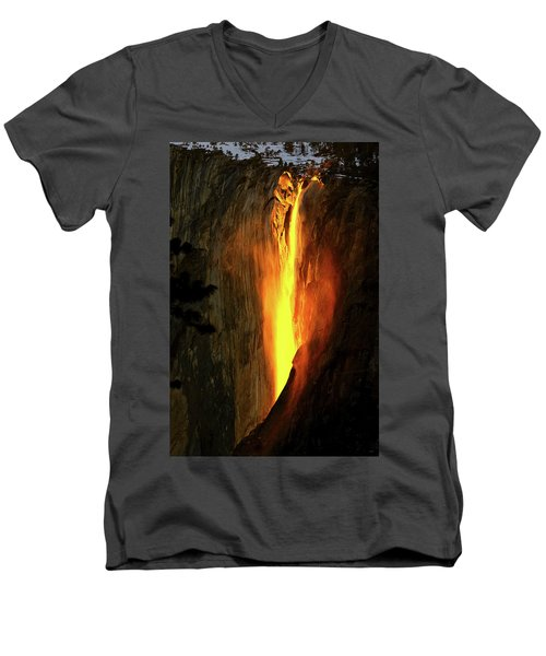 Horse Tail Fall Aglow Men's V-Neck T-Shirt by Greg Norrell