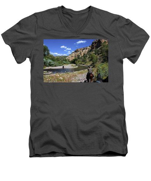 Horseback In The Gila Wilderness Men's V-Neck T-Shirt