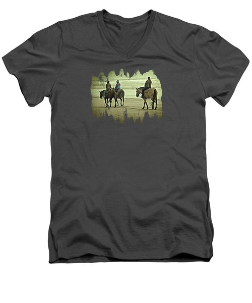 Men's V-Neck T-Shirt featuring the photograph Horseback Riding On The Beach by Thom Zehrfeld