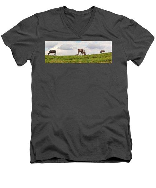 Horses And Clouds Men's V-Neck T-Shirt