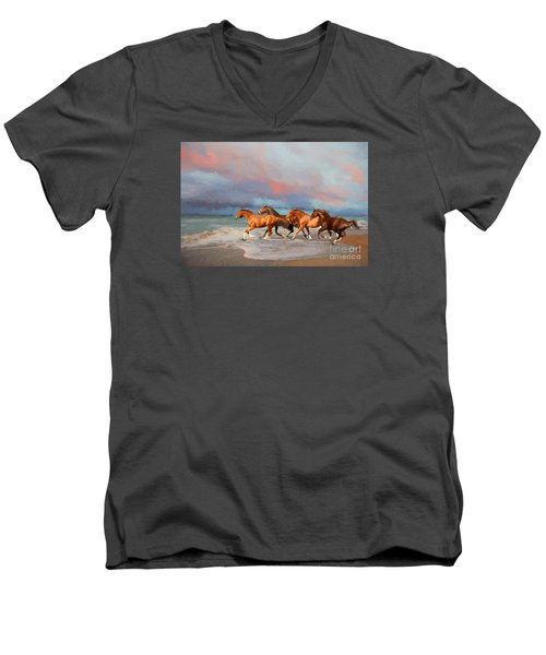Horses At The Beach Men's V-Neck T-Shirt by Mim White