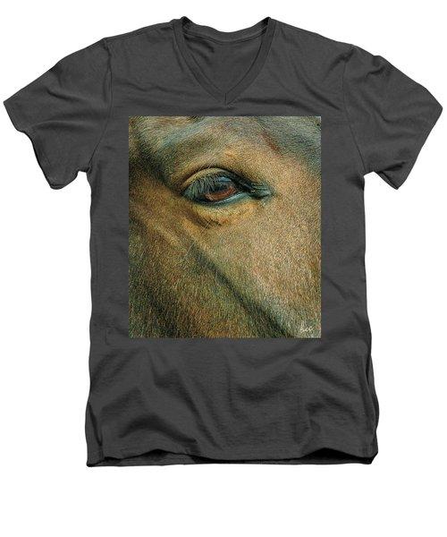 Men's V-Neck T-Shirt featuring the photograph Horses Eye by Bruce Carpenter