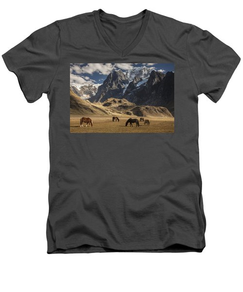 Horses Grazing Under Siula Grande Men's V-Neck T-Shirt