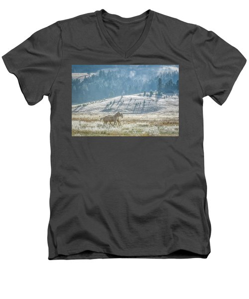 Horses In The Frost Men's V-Neck T-Shirt by Keith Boone