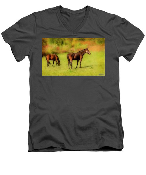 Horses In The Pasture Men's V-Neck T-Shirt